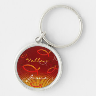 Ichthus Pattern on Red Background Silver-Colored Round Keychain