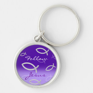 Ichthus Pattern on Violet Background Silver-Colored Round Keychain