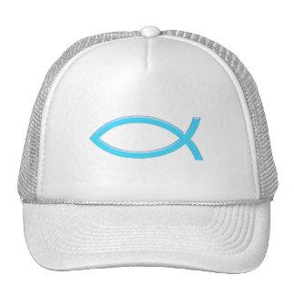 Ichthus - símbolo cristiano de los pescados - azul gorro