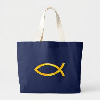 Ichthus - símbolo cristiano de los pescados bolsas lienzo
