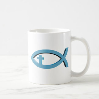 Ichthus - símbolo cristiano de los pescados con cr tazas de café