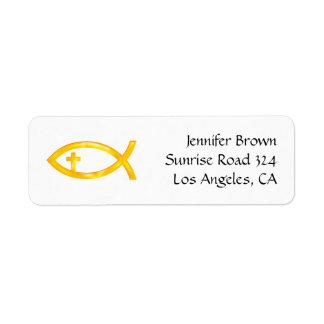 Ichthus - símbolo cristiano de los pescados - etiqueta de remite