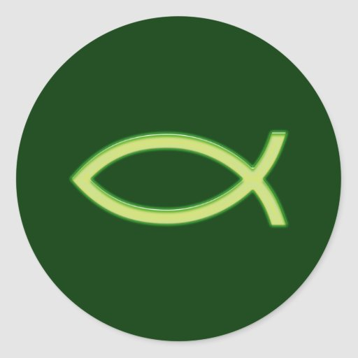 Ichthus - símbolo cristiano de los pescados - pegatina redonda
