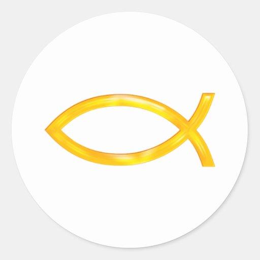 Ichthus - símbolo cristiano de los pescados pegatina redonda