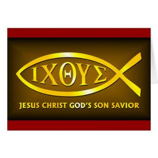 ICHTHUS: Símbolo de los pescados de Jesús Tarjeta De Felicitación