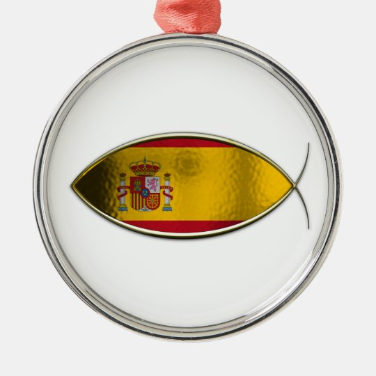 Ichthus - Spanish Flag Metal Ornament