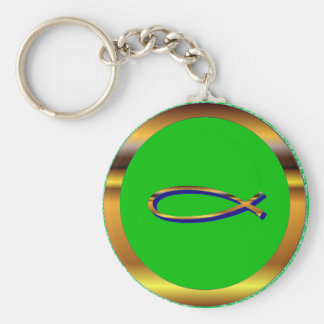 Ichthys Green-Gold Keychain