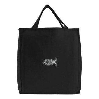 Ichthys Jesus  Fish Christian Religious Symbol Embroidered Tote Bag