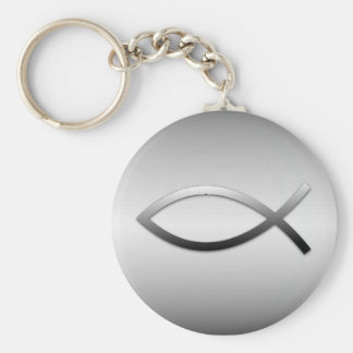 Ichthys Jesus Fish Christian Symbol Basic Round Button Keychain