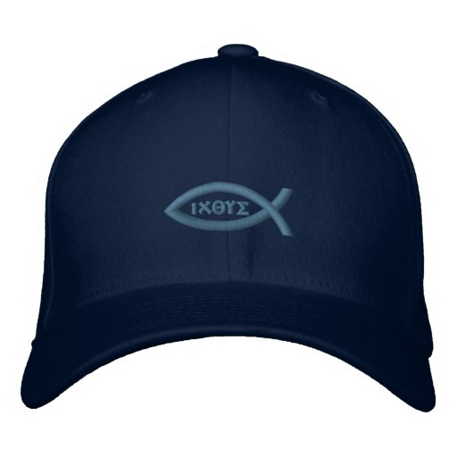 Ichthys Jesus Fish Christian Symbol Embroidered Baseball Hat