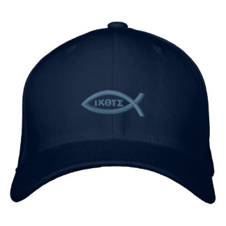 Ichthys Jesus Fish Christian Symbol Embroidered Hats