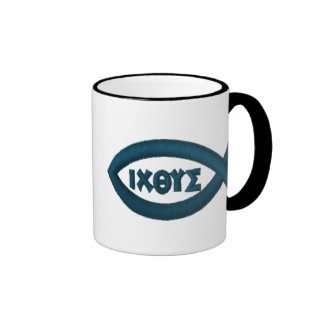 Ichthys Jesus Fish Christian Symbol Ringer Mug