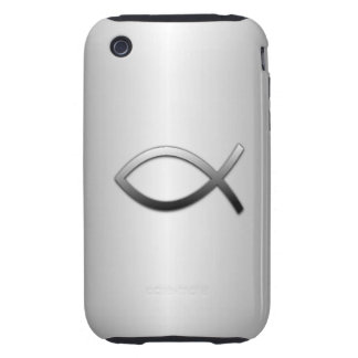 Ichthys Jesus Fish Silver Flare Christian Symbol iPhone 3 Tough Cover