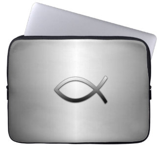 Ichthys Jesus Fish Silver Flare Laptop Computer Sleeves