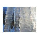 Icicles Abstract Blue Winter Nature Photography Canvas Print