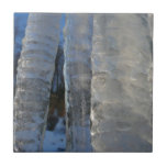 Icicles Abstract Blue Winter Nature Photography Ceramic Tile