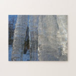 Icicles Abstract Blue Winter Nature Photography Jigsaw Puzzle