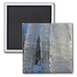 Icicles Abstract Blue Winter Nature Photography Magnet