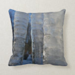 Icicles Abstract Blue Winter Nature Photography Throw Pillow