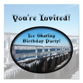 Icicles, Ice Skating Birthday Party Card