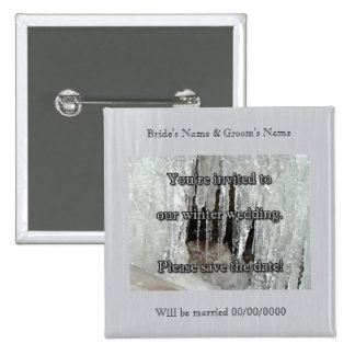 Icicles on Dietz Mill Road Save the Date Pinback Button
