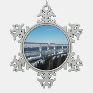Icicles Snowflake Pewter Christmas Ornament
