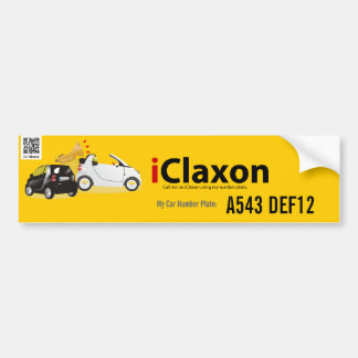 iClaxon Logo on Orange - with Car Number Plate Car Bumper Sticker