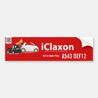 iClaxon Logo on Red - with Car Number Plate 2 Car Bumper Sticker