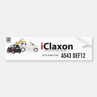 iClaxon Logo on White - with Car Number Plate Car Bumper Sticker