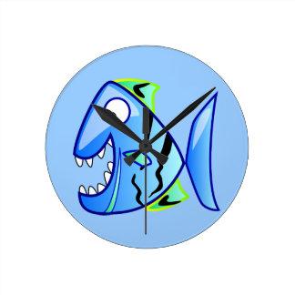 icon-27971  icon blue fish theme apps piranha CUTE Wall Clock