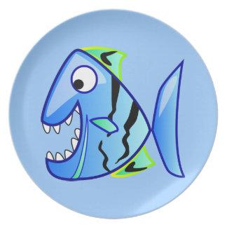 icon-27971  icon blue fish theme apps piranha CUTE Party Plates