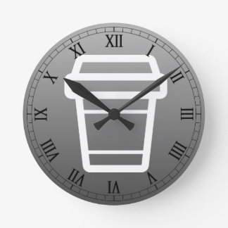 Icon Coffee or Latte Cup To-Go Round Clock
