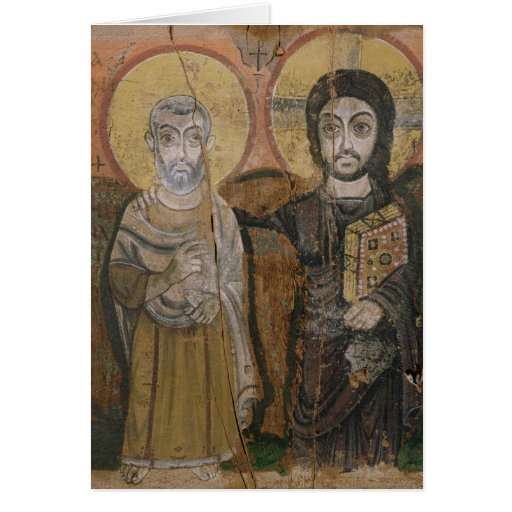 Icon depicting Abbott Mena with Christ Greeting Cards