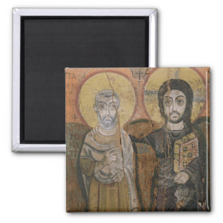 Icon depicting Abbott Mena with Christ 2 Inch Square Magnet