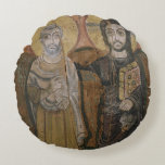 Icon depicting Abbott Mena with Christ Round Pillow