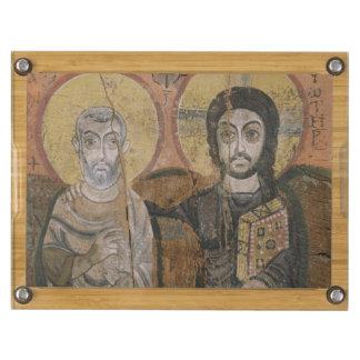 Icon depicting Abbott Mena with Christ Rectangular Cheeseboard