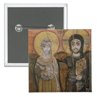 Icon depicting Abbott Mena with Christ Pinback Button
