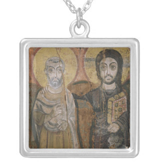 Icon depicting Abbott Mena with Christ Silver Plated Necklace