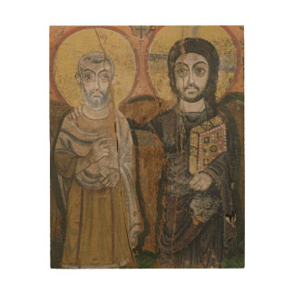 Icon depicting Abbott Mena with Christ Wood Print