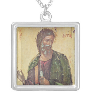 Icon depicting St. Andrew Silver Plated Necklace
