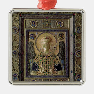Icon depicting the Archangel Michael Square Metal Christmas Ornament
