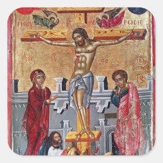 Icon depicting the Crucifixion, 1520 Square Sticker