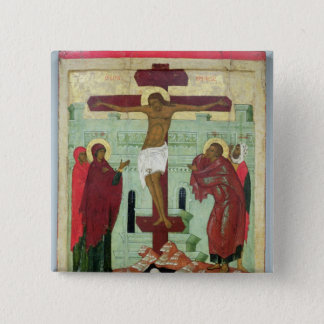 Icon depicting the Crucifixion with the Virgin Pinback Button