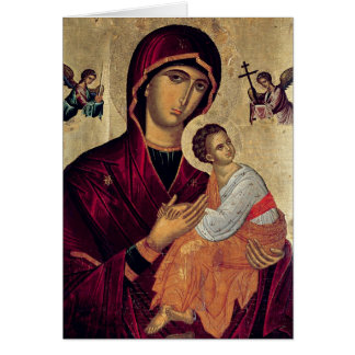Icon depicting the Holy Mother of the Passion Card