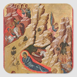 Icon depicting the Nativity Square Sticker