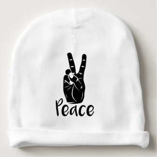 "Icon hand peace sign with text ""PEACE"" Baby Beanie"