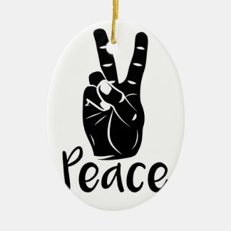 """Icon hand peace sign with text """"PEACE"""" Ceramic Ornament"""