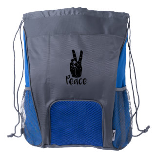 "Icon hand peace sign with text ""PEACE"" Drawstring Backpack"