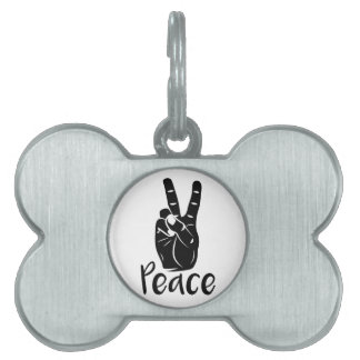 """Icon hand peace sign with text """"PEACE"""" Pet Name Tag"""