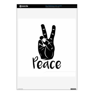 """Icon hand peace sign with text """"PEACE"""" Skin For PS3 Slim"""